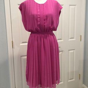 J. Crew Collection 100% silk hot pink pleats dress